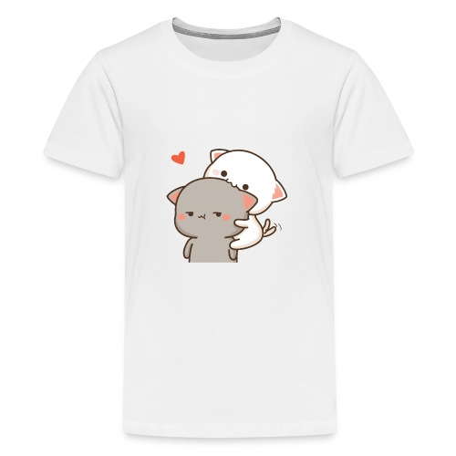 Peach eating Goma - Mochi Peach Cat - Kids' Premium T-Shirt
