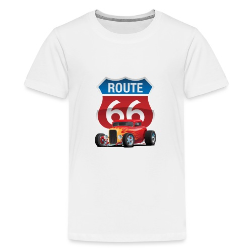 Route 66 Sign with Classic American Red Hotrod - Kids' Premium T-Shirt