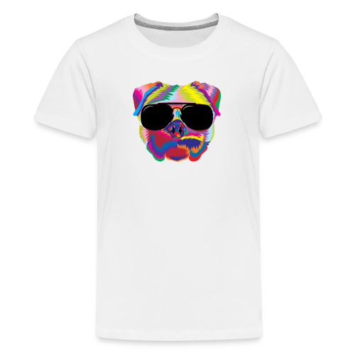 Psychedelic Pug Dog Face with Sunglasses - Kids' Premium T-Shirt