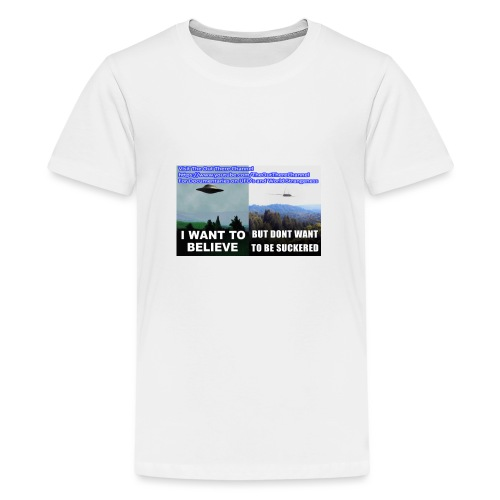 tshirt i want to believe with back Crew Logo - Kids' Premium T-Shirt