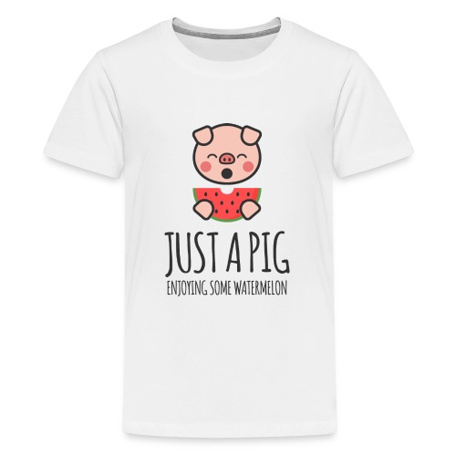 Just A Pig Enjoying Some Watermelon - Kids' Premium T-Shirt