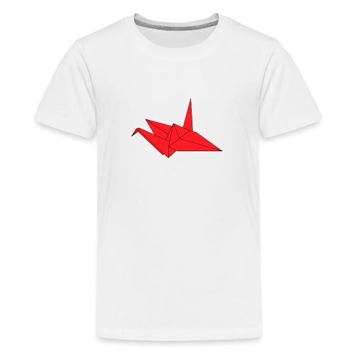 Origami Paper Crane Design - Red - Kids' Premium T-Shirt
