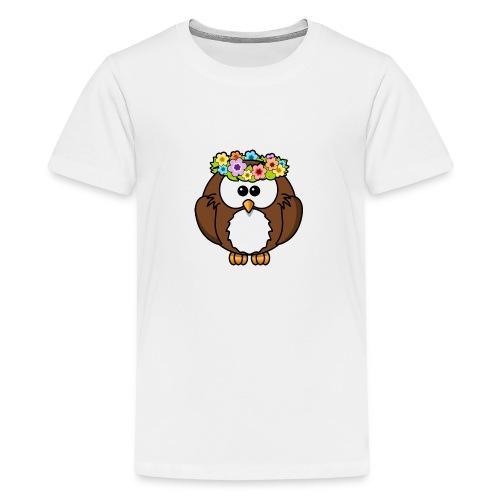 Owl With Flowers On Head T-Shirt - Kids' Premium T-Shirt