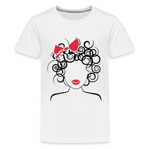 Curly Girl with Red Bow_Global Couture_logo T-Shir - Kids' Premium T-Shirt