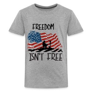 Freedom isn't free flag with fallen soldier design - Kids' Premium T-Shirt