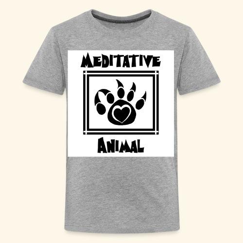 B&W Meditative Animal Paw - Kids' Premium T-Shirt
