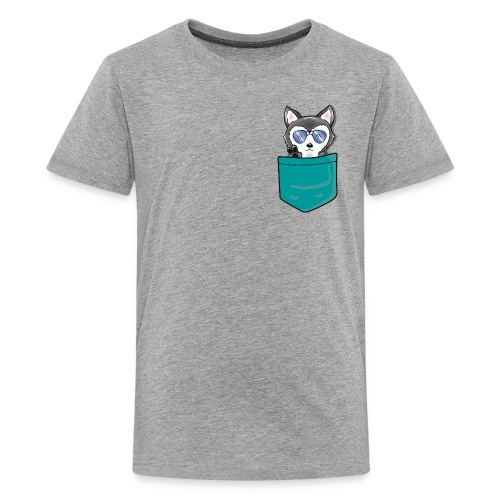 HuskenRaider husky teal pocket - Kids' Premium T-Shirt