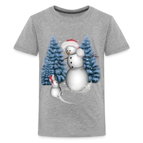 Funny snowman with snow kid - Kids' Premium T-Shirt