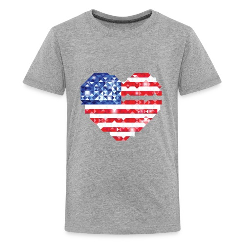 American Flag Heart Shirt - Kids' Premium T-Shirt