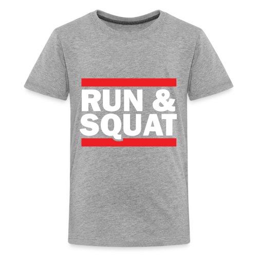 Run Squat White on Dark by Epic Greetings - Kids' Premium T-Shirt