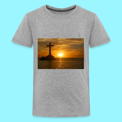 cross with sunset- water design - Kids' Premium T-Shirt