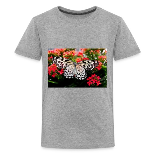 Beautiful butterfly with blooming blossoms - Kids' Premium T-Shirt