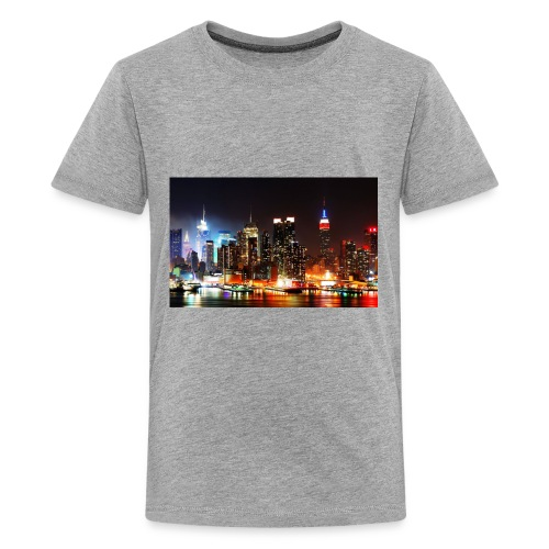 New York City Skyline at Night - Kids' Premium T-Shirt