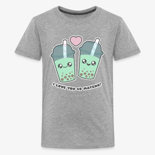 I Love You So Matcha Boba Bubble Tea - Kids' Premium T-Shirt