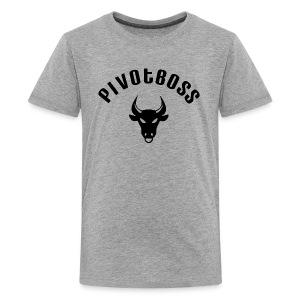 PivotBoss Curved Logo - Black - Kids' Premium T-Shirt