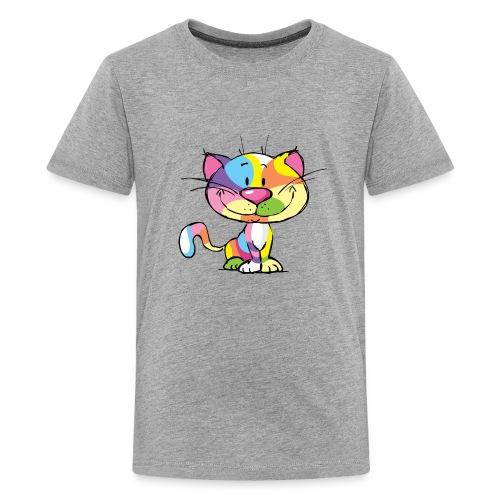 Cute Kitty Cartoon Colorful Pop Art Design - Kids' Premium T-Shirt