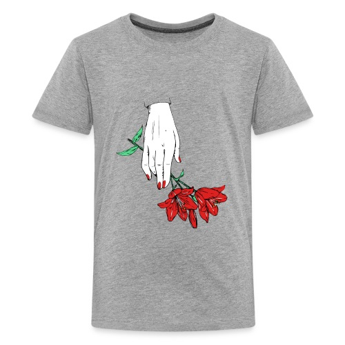 hand with two flowers - Kids' Premium T-Shirt