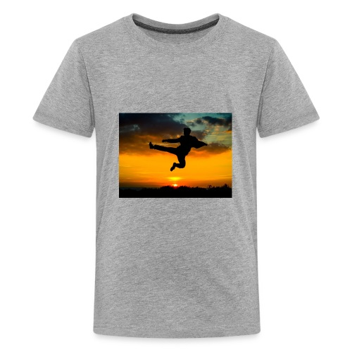 flying kick 1000x750 - Kids' Premium T-Shirt