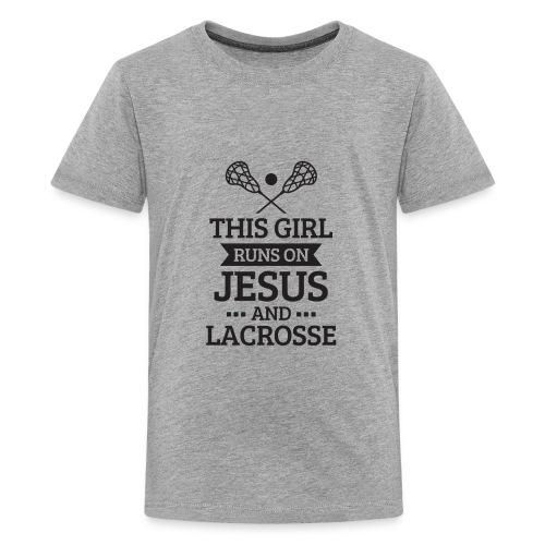 Lacrosse Shirt, Girls Lacrosse Gift, Runs on Jesus - Kids' Premium T-Shirt