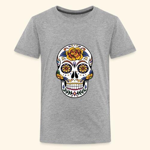 Men Women Flower Sugar Skull Shirt Day of the Dead - Kids' Premium T-Shirt