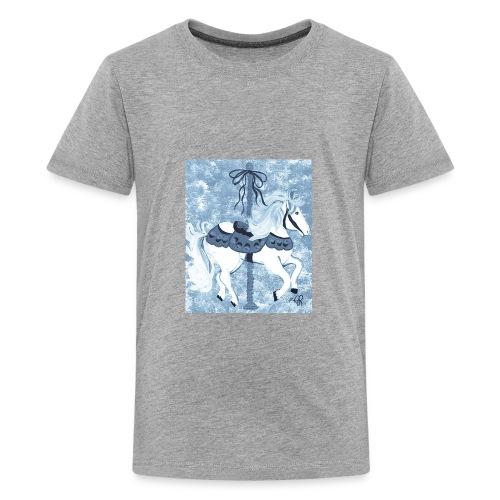 Carousel Horse Merry Go Round Blue Gray - Kids' Premium T-Shirt
