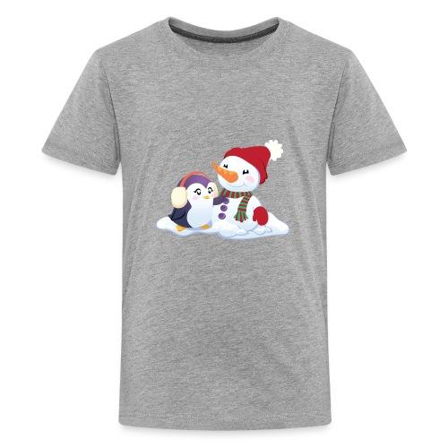 Penguin & Snowman Winter Friends - Kids' Premium T-Shirt