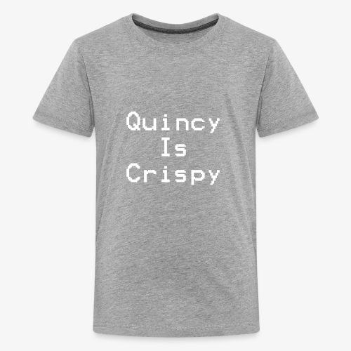 QuincyIsCrispy Text Logo (White) - Kids' Premium T-Shirt