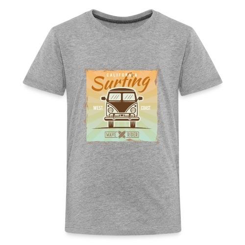 California Surfing West Coast Wave Rider Vector - Kids' Premium T-Shirt