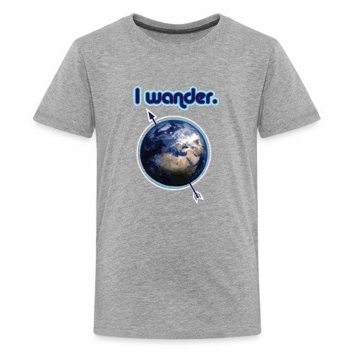 I Wander- Blue Earth Wanderlust Nomad - Kids' Premium T-Shirt