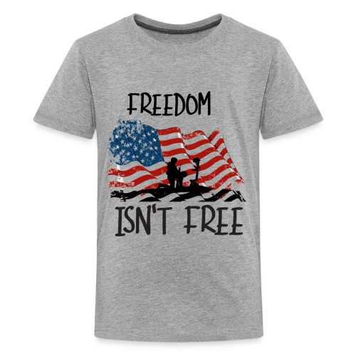 Freedom isn't free flag with fallen soldier design - Kids' Premium T-Shirt