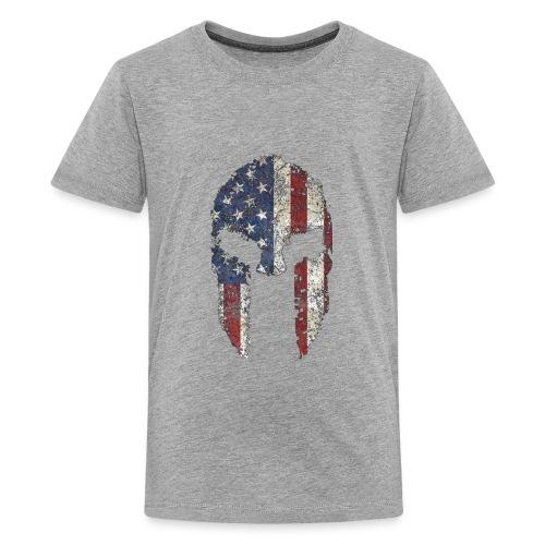 American Spartan Warrior Helmet Patriotic Flag T S - Kids' Premium T-Shirt