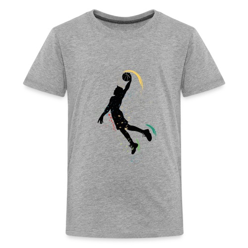 basketball drawing player grunge silhouette decor - Kids' Premium T-Shirt