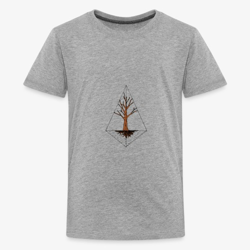 Hand drawn tree in a kite shaped outline - Kids' Premium T-Shirt