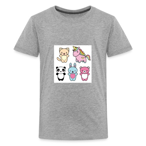 set collection cute kawaii style happy smiling - Kids' Premium T-Shirt