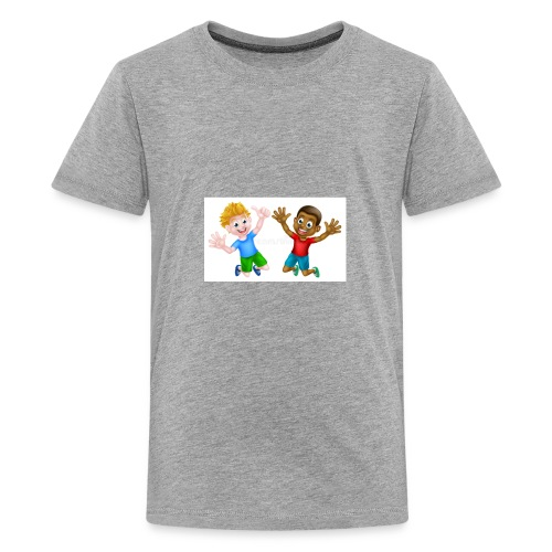 happy cartoon boys young one black one white jumpi - Kids' Premium T-Shirt