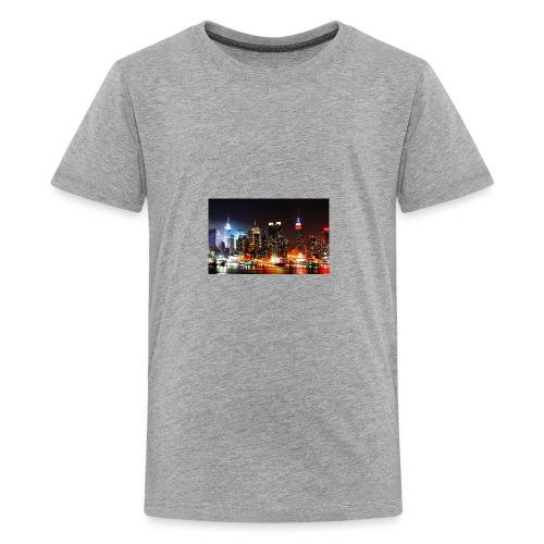 New York City Skyline at Night - Kids' Premium T-Shirt