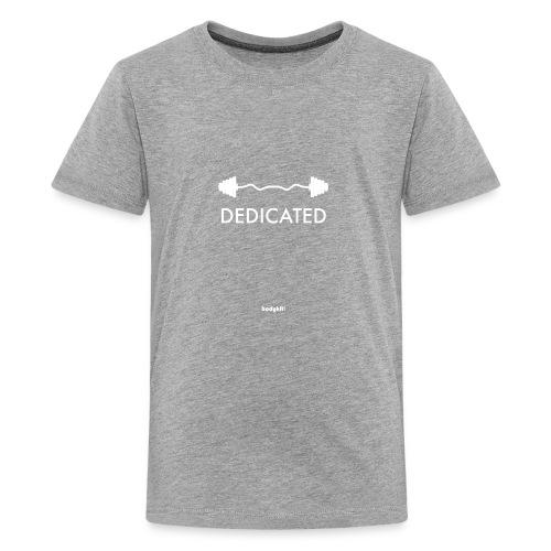 Dedicated Fitness Graphic Tee on Dark - Kids' Premium T-Shirt