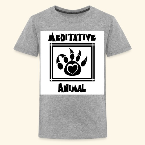 B&W Meditative Animal Paw - Kids' Premium T-Shirt