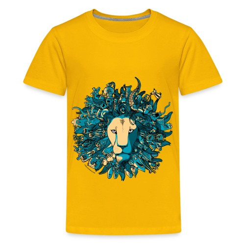 Blue and Yellow Lion - Kids' Premium T-Shirt
