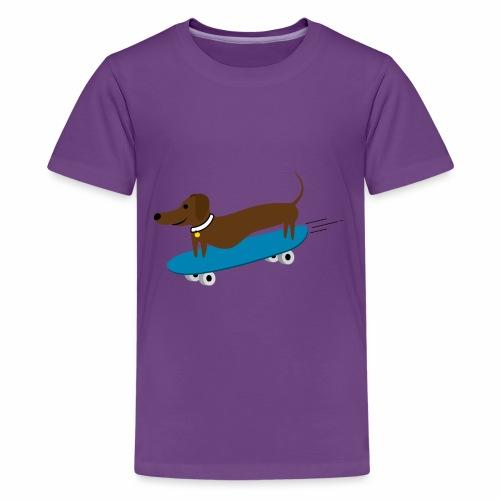 Dachshund Skateboarding - Kids' Premium T-Shirt