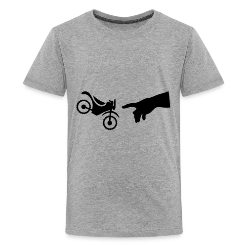The hand of god brakes a motorcycle as an allegory - Kids' Premium T-Shirt