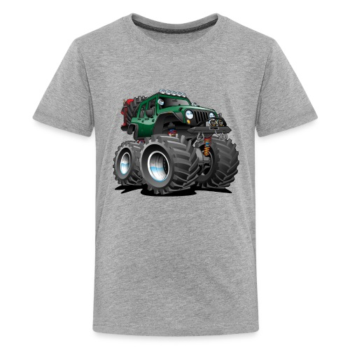 Off road 4x4 green jeeper cartoon - Kids' Premium T-Shirt