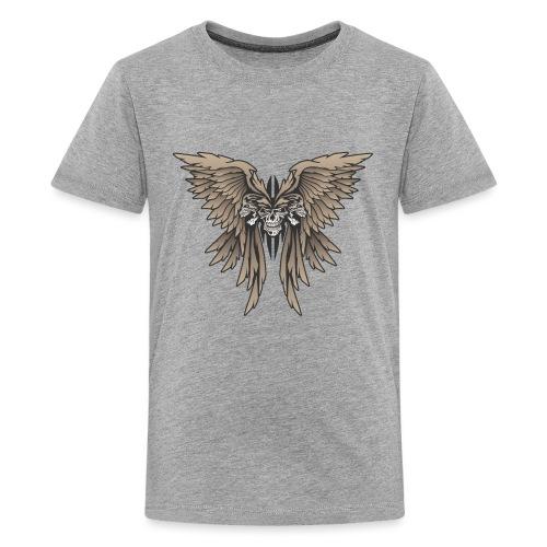 Skulls and Wings Illustration - Kids' Premium T-Shirt