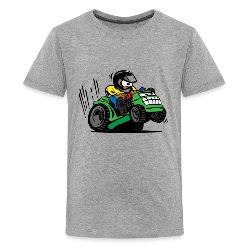 Racing Lawn Mower Cartoon - Kids' Premium T-Shirt