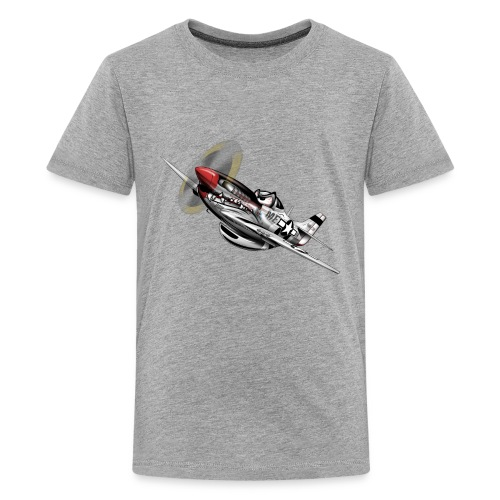 P-51 Mustang WWII Airplane Cartoon Illustration - Kids' Premium T-Shirt