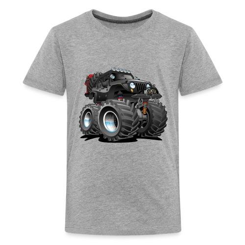 Off road 4x4 black jeeper cartoon - Kids' Premium T-Shirt