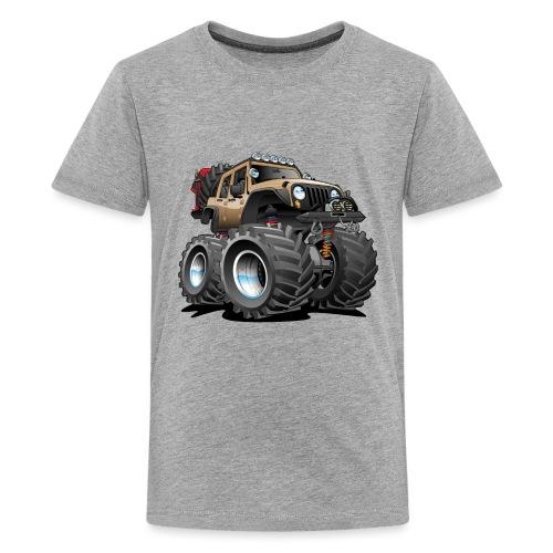 Off road 4x4 desert tan jeeper cartoon - Kids' Premium T-Shirt