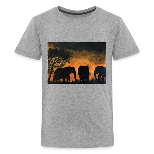 Elephants at sunset - Kids' Premium T-Shirt