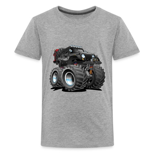 Off road 4x4 black jeeper cartoon - Kids' Premium T-Shirt