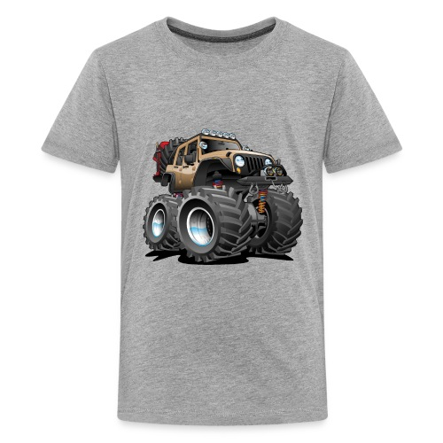 Off road 4x4 desert tan jeeper cartoon - Kids' Premium T-Shirt